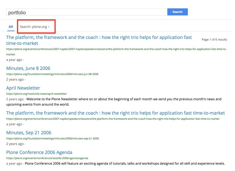 Search results different site 2