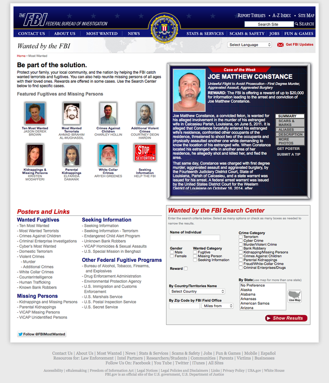 FBI Wanted page
