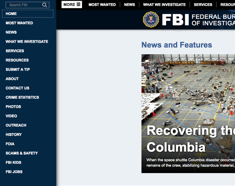 FBI website navigation
