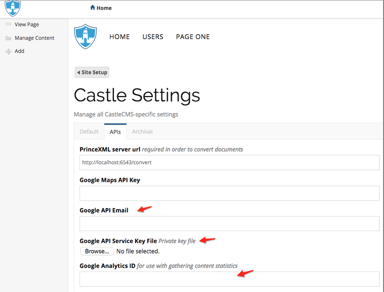 Castle API setting screen capture