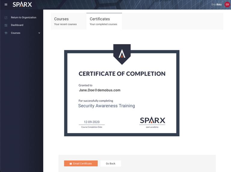 Sparx Certificate Screenshot 7/23/21